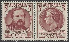 Australia 1951 3d GOLD/RESPONSIBLE GOVERNMENT VICTORIA, Joined Pair MNH SG 245-6
