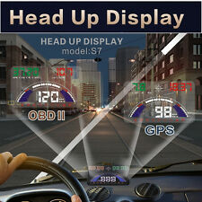 Car HUD Head Up Display OBDII & MPH GPS Speeding Warning Windshield Projector