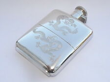 RARE CHINESE 1920s/30s EXPORT 178 GRAMS SOLID SILVER HIP FLASK