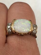 ESTATE NATURAL OPAL  RING IN 14K YELLOW GOLD And Diamonds