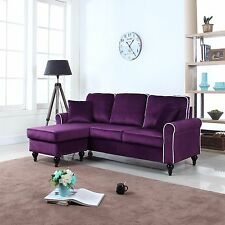 Traditional Small Space Purple Velvet Sectional Sofa with Reversible Chaise