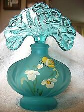 FENTON - TEAL SATIN PERFUME BOTTLE  WITH STOPPER - L. EVERSON SIGNED