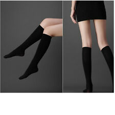 Hot Knee High Socks Calf Support Comfy Relief Black Cotton Leg Warmers Students