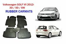 VW GOLF VII 2012- Rubber Car Floor Mats All Weather Carmats Alfombrillas Goma
