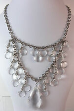 LADIES SILVER CHUNKY CLEAR STONE LAYERED NECKLACE STUNNING EVENING WEAR(ST63)