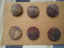 6 x ABRAHAM MOON 'GOSFORD GRAPE' TWEED WOOL FABRIC COVERED BUTTONS