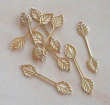 100 medium (29mm) gold plated leaf bails, findings for jewellery making crafts