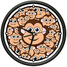 MONKEY Wall Clock  zoo jungle monkey lovers monkey faces rainforest gag gift