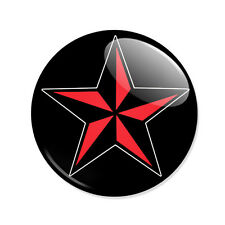 Badge ETOILE NAUTIQUE ROUGE Red Nautical Star motif tattoo old school goth Ø25mm