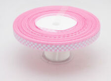 """Free shipping 5YDS 3/8""""Cute Grid Hole pink  color Grosgrain Ribbon"""