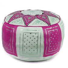 "18.5"" Moroccan FEZ Pouf leather Ottoman Footstool  Pouffe Hassock New   Pouff"