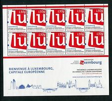 Luxembourg 2015 NH New Issues #4 - Luxembourg as EU President - 2 Sheets of 10