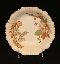 1889 Royal Worcester Porcelain Hand Decorated Floral 8 Inch Bowl with Gold Rim