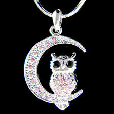 w Swarovski Crystal ~Pink Owl on Moon Hoot Bird Halloween Charm Pendant Necklace