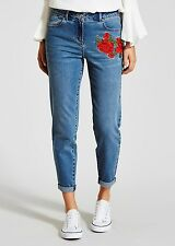 NEW 2017 PAPAYA Size 10 Rose Embroidered Boyfriend JEANS Matalan
