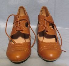 American Eagle Tan Brown Synthetic Laceup Pumps Heels Size 7
