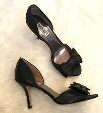Badgley Mischka Madalyn Black Satin Pumps Heels Bow Open Toe Dorsay $215 Size 9