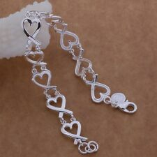 Ladies 925 Sterling Silver Love Heart Charm Chain Link Fashion Bracelet Gift
