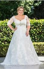 Plus Size+ Wedding Dresses with Sleeve Half Sleeve A-Line With Lace Wedding Gown