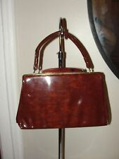 VINTAGE 50'S *SPILENE *LUCITE&TORTOISE SHELL BROWN PATENT LEATHER  BOX BAG PURSE