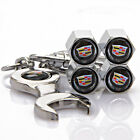 4x Auto Car Tyre Stems Air Cover Valve Caps + Wrench Keychain Key ring For
