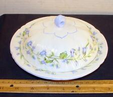 Lovely Shelley Harebel Covered Butter Dish Dainty Shape Blue Flowers England