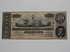 Civil War Confederate 1864 20 Dollar Bill Richmond Virginia Paper Money Currency