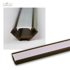 """1m LED Kunststoff-Profil """"ECKE"""" braun mit Abdeckung OPAL Schiene für LED Stripes"""