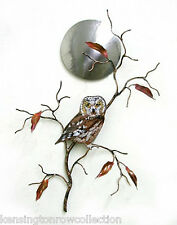 WALL ART - SAW WHET OWL IN THE MOONLIGHT METAL WALL SCULPTURE - WALL DECOR