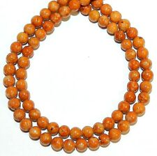 GR510f Brown 4mm Round Handcut Riverstone Coral Fossil Gemstone Beads 16""