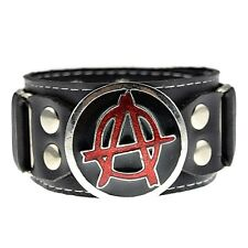 Red Anarchy Circle A Symbol Anarchist Rebel Black Leather Wide Cuff New Bracelet