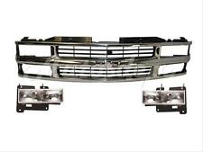 1994-1998 Chevy C1500 C2500 C3500 Pickup Grille Chrome With Headlight Set 3 pcs