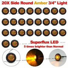 "20X Mini Amber 3/4"" Round Superflux Side LED Marker Truck Bullet License Light"