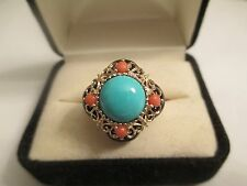 ESTATE 14K Gold Turquoise & Coral & Black Onyx Ring Size 10 Top=20X20 MM