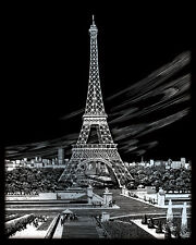 Engraving SCRAPERFOIL Scratch Art Kit SILVER FOIL Engrave EIFFEL TOWER
