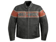 Lederjacke Harley-Davidson Victory Lane * Gr. L - Grau Orange Leder Jacke