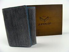 new J.Fold New York grey blue mens trifold billfold grain leather wallet gift