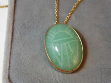 "Vintage WRE Richards Jade Green Stone Carved Scarab Pendant 18"" Necklace 10f 28"