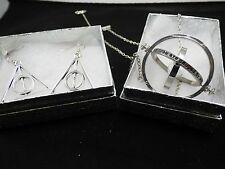 USA-2pc Harry Potter,Silver Time Turner &Silver Deathly Hallow earrings,