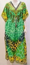 PLUS Size Boho Funky Jeweled Stile Leopardato Kaftan DRESS VERDE 24 26 28