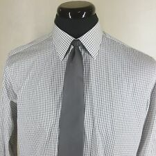 "*DUNHILL* DRESS SHIRT MADE IN ENGLAND -16.5""X35""-36""- 2 FOLD COTTON MINI CHECKS"