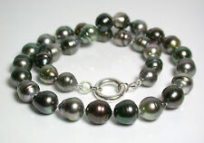 10-11.5mm AA++ multicolour Tahitian saltwater pearl & sterling silver necklace