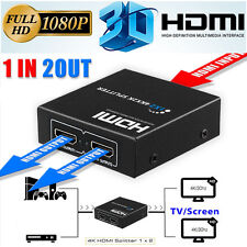 Full HD HDMI Splitter 2 Port Hub 1X2 Repeater Amplifier v1.4 3D 1080p 1 in 2 out