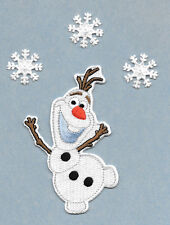 """4""""H Olaf - Frozen - Embroidered Iron On Applique Patch - With (3) 1"""" Snowflakes"""