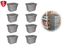 Plastic Storage Container Sterilite Stackable Box 18 Gallon Tote Case Bin 8/Set