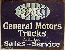 GENERAL MOTORS TRUCKS SALES/SERVICE RETRO;ANTIQUE-STYLE METAL WALL SIGN 40X30CM