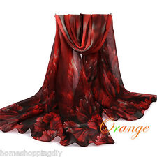 Women Voile Floral Scarf Wrap Shawl Large Silk Scarves Stole Dark Red