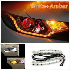 Flexible Xenon Dual Color White+AmberLEDStrip DRLLight Turn Signal For Headlight