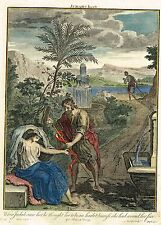 """Stackhouse's Bible History """"JUDAH'S INCEST"""" - Hand-Colored Engraving -1737"""