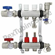 "2-Branch PEX Radiant Floor Heating Manifold Set - Stainless Steel, for 1/2"" PEX"